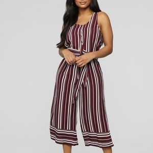 Cropped Jumpsuit - Burgundy/White
